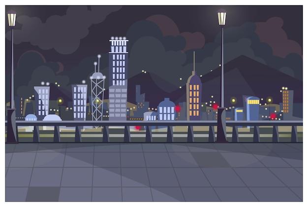 Paysage urbain sombre avec illustration de feux allumés Vecteur gratuit