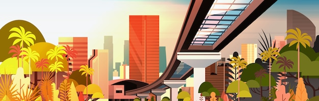 Paysage urbain de la ville au coucher du soleil avec les gratte-ciel modernes et la route de chemin de fer Vecteur Premium