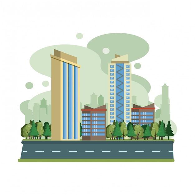 Paysage urbain, vue sur la ville Vecteur gratuit