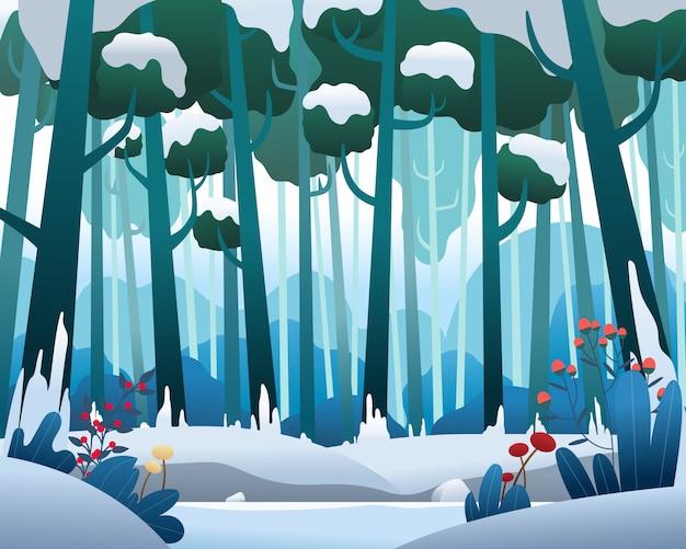 Paysage de vecteur avec forêt de pins en hiver Vecteur Premium