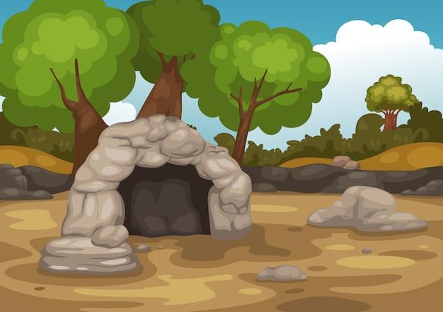 Paysage avec le vecteur de la grotte Vecteur Premium