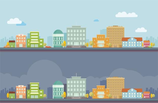 Paysage de vecteur jour et nuit paysage urbain Vecteur Premium