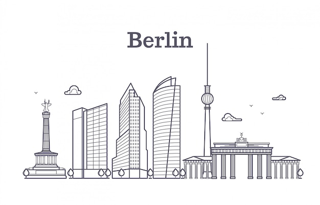 Paysage de vecteur ligne berlin berlin Vecteur Premium