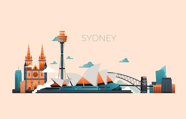 Paysage de vecteur de point de repère voyage australie avec l'opéra de sydney et des bâtiments célèbres Vecteur Premium