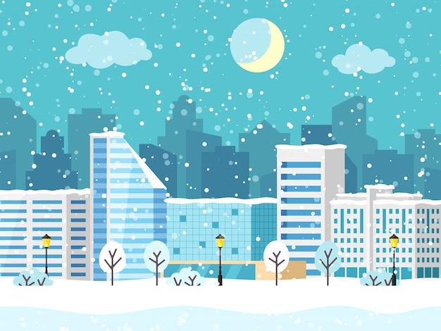 Paysage De Vecteur De Ville Hiver Noël Avec Bâtiment Vecteur Premium