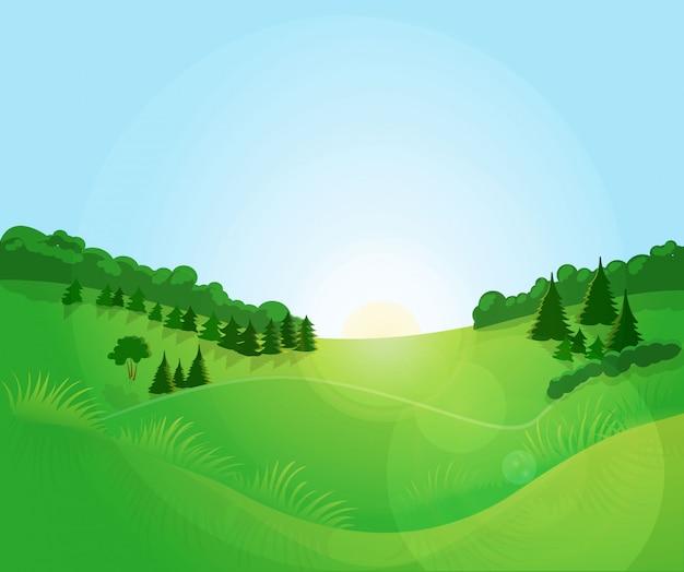 Paysage vert avec un ciel bleu. Vecteur Premium