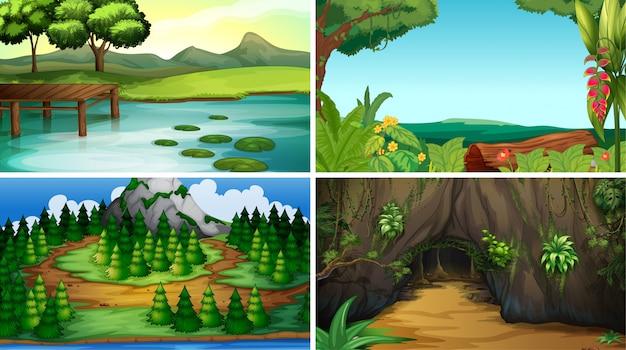 Paysage vide ou vide, scènes de nature ou arrière-plan Vecteur gratuit