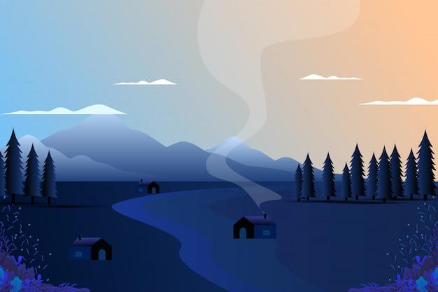 Paysage de village avec montagne et ciel Vecteur Premium