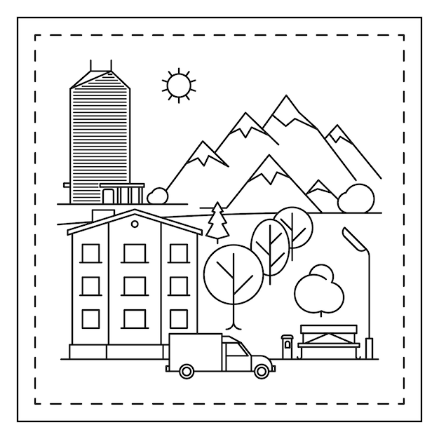 Paysage de la ville à colorier pour les enfants Vecteur Premium