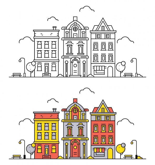 Paysage de ville fine ligne dans le style de contour plat Vecteur Premium