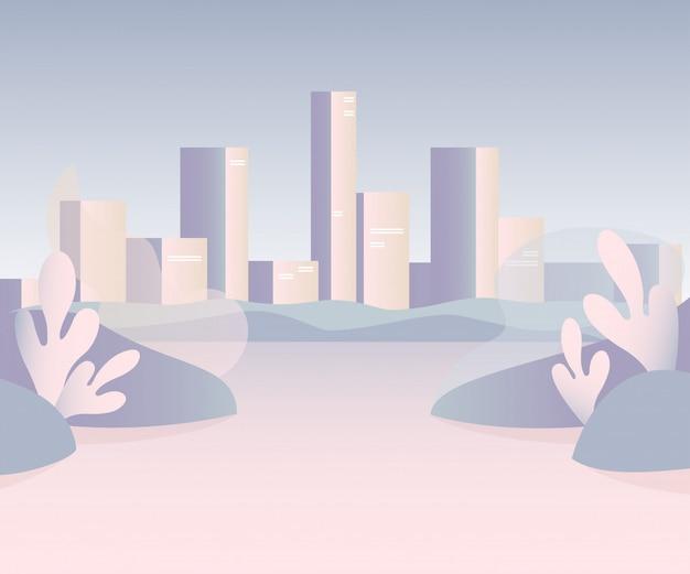 Paysage De La Ville Avec Des Gratte-ciels Hauts Vecteur Premium