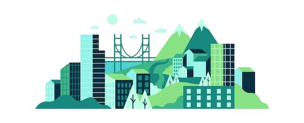 Paysage De La Ville Avec De Hauts Bâtiments En Verre, Des Collines Verdoyantes Et Des Montagnes. Vecteur Premium