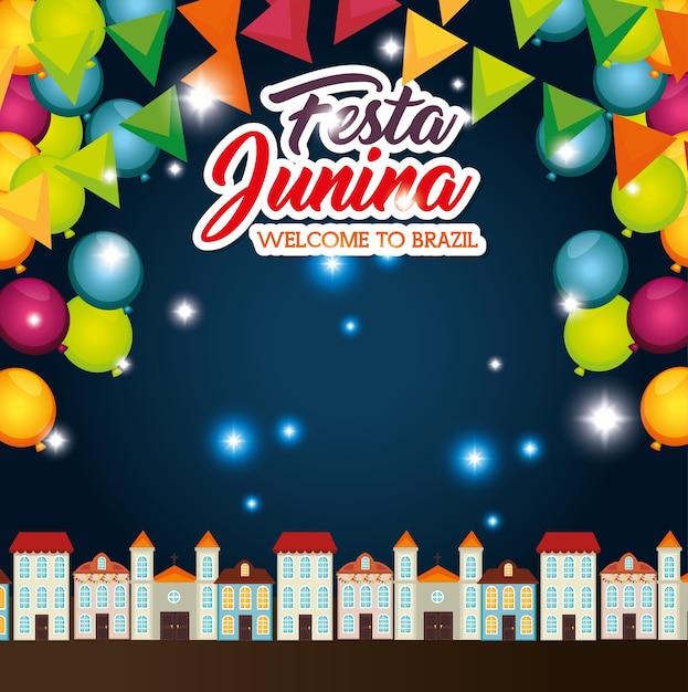 Paysage de ville de nuit avec ballons et bannières illustration vectorielle de festa junina Vecteur Premium