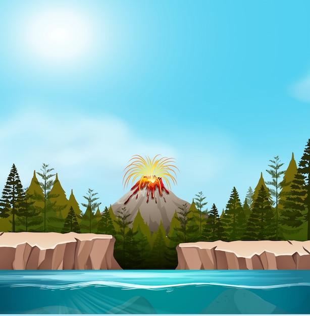 Un paysage de volcan nature Vecteur gratuit