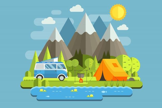 Paysage De Voyage De Camping De Montagne Avec Bus De Camping-car Rv Au Design Plat. Vecteur Premium