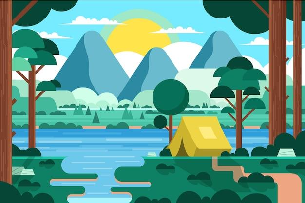 Paysage De Zone De Camping Design Plat Avec Tente Et Forêt Vecteur gratuit