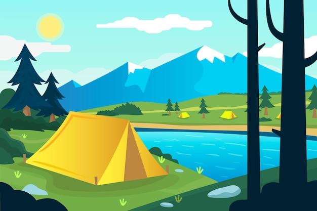 Paysage De Zone De Camping Design Plat Avec Tente Et Montagne Vecteur gratuit