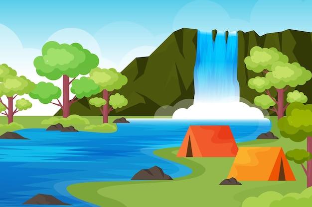 Paysage De Zone De Camping Design Plat Avec Tentes Et Cascade Vecteur Premium