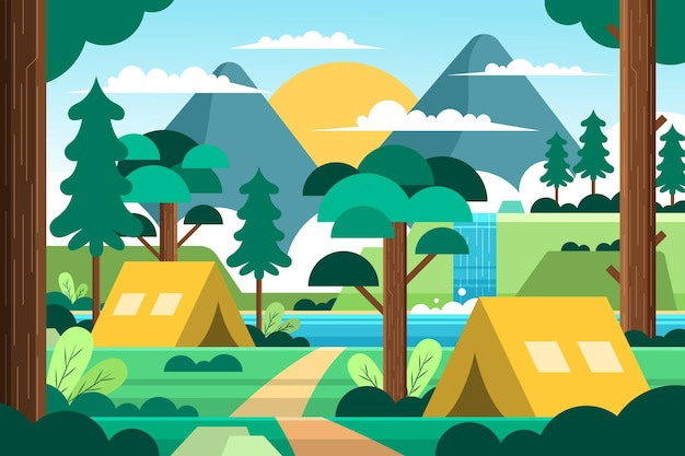 Paysage De Zone De Camping Design Plat Avec Tentes Et Forêt Vecteur gratuit