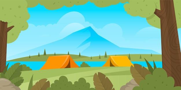 Paysage De Zone De Camping Design Plat Avec Tentes Et Montagne Vecteur gratuit