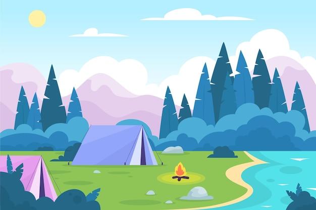 Paysage De Zone De Camping Design Plat Avec Tentes Vecteur gratuit