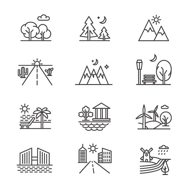 Paysages D'art En Ligne Avec Forêt, Désert, Vallée, Montagnes Et Bord De Mer Vecteur Premium