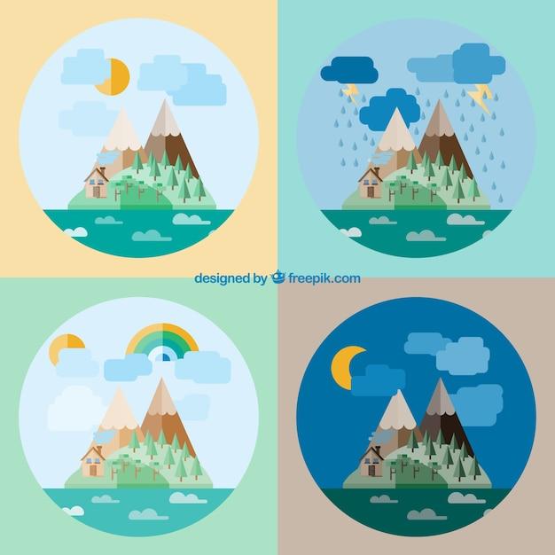 Les Paysages Naturels Design Plat Vecteur gratuit