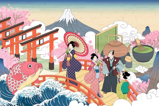 Paysages Rétro Du Japon Dans Le Style Ukiyo-e, Les Personnes Transportant En Appréciant Leur Thé Vert Sur Le Pont Vecteur Premium