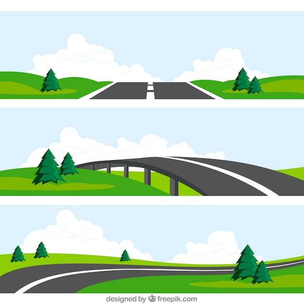 Paysages routiers Vecteur gratuit