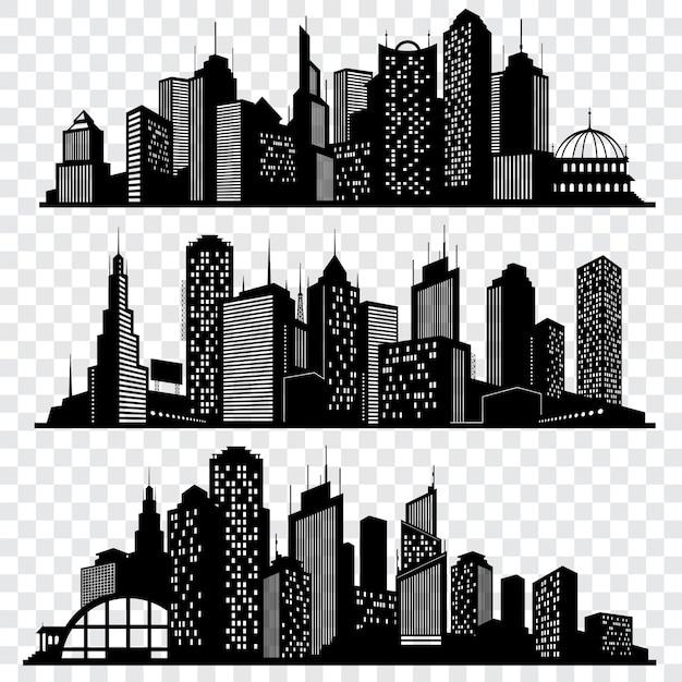 Paysages urbains, bâtiments de toits de ville, jeu de vector silhouettes de grande ville Vecteur Premium