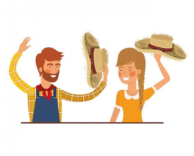 Paysan, couple, conversation, à, chapeau paille Vecteur Premium