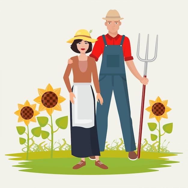 Paysan couple homme et femme. Vecteur Premium