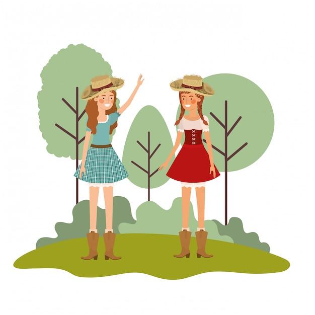 Paysannes femmes discutant avec chapeau de paille Vecteur Premium