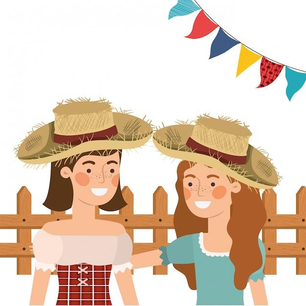 Paysannes femmes discutant avec chapeau de paille Vecteur gratuit
