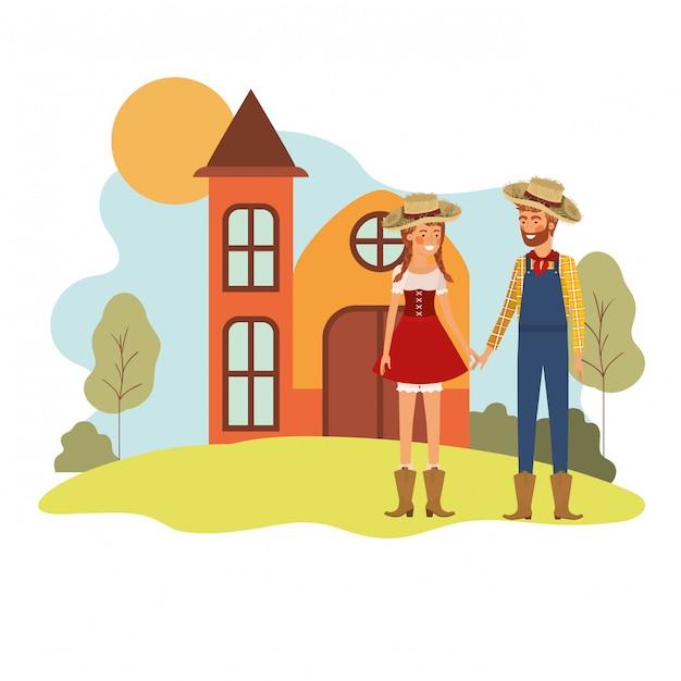 Paysans, couple, conversation Vecteur gratuit