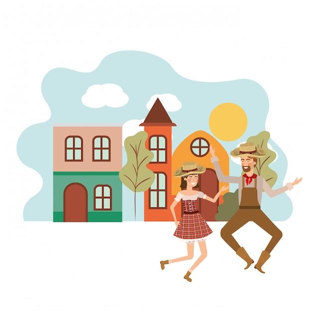 Paysans couple danse Vecteur gratuit