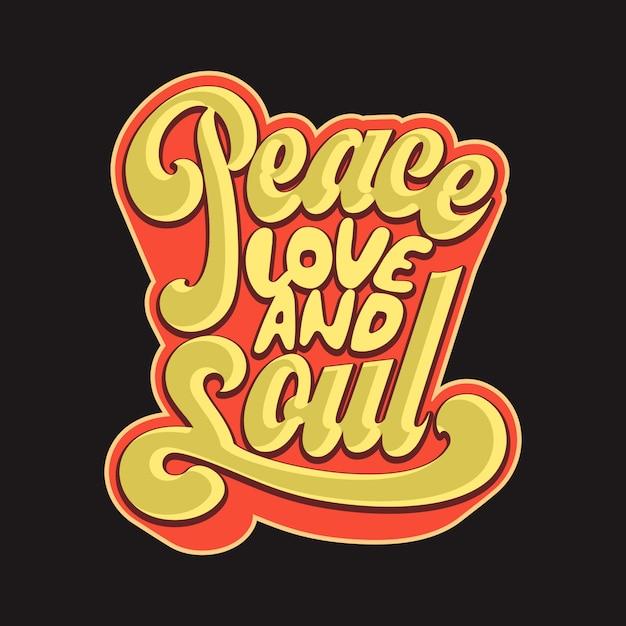 Peace love and soul Vecteur Premium