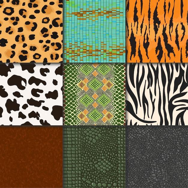 Peaux D'animaux Vecteur Modèle Seamless Animalistic Skinny Texturé Toile De Fond De Peau Sauvage Fourrure Naturelle Illustration Faune Espace Ensemble Vecteur Premium