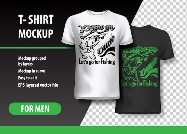 Pêche, modèle de t-shirt, entièrement modifiable. Vecteur Premium
