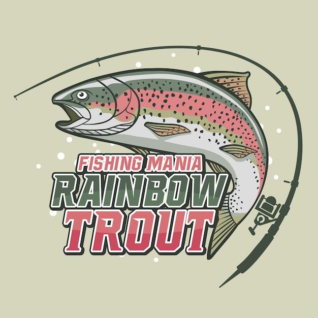 Pêche à La Truite Arc-en-ciel Vecteur Premium