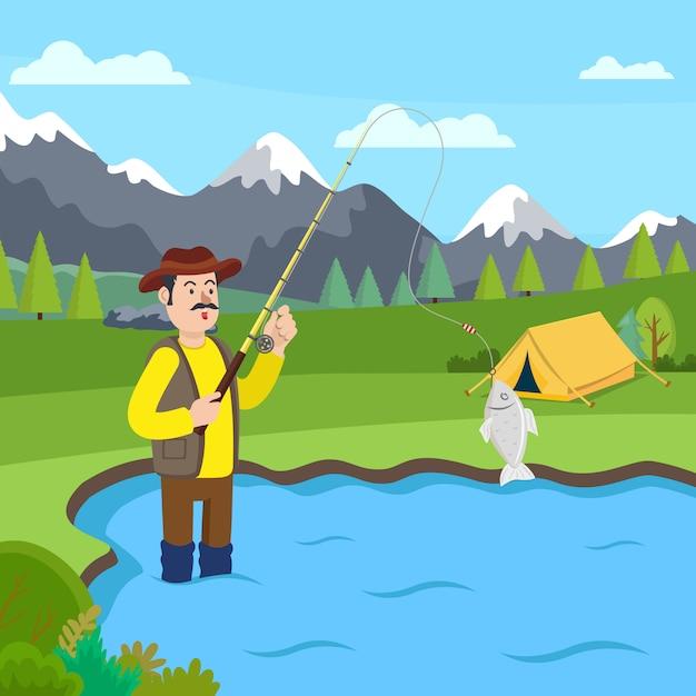 Pêcheur dans des bottes en caoutchouc debout dans le lac. vecteur Vecteur Premium