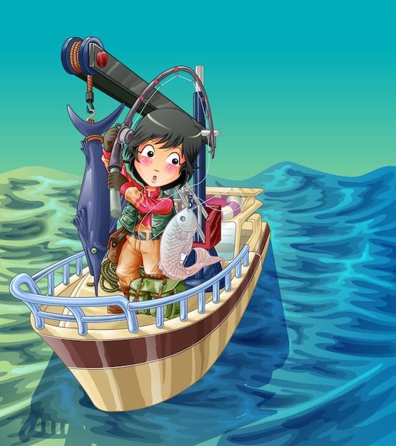 Pêcheur est en train de pêcher sur son navire avec un fond marin. Vecteur Premium