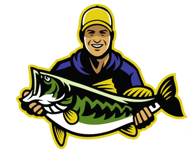 Pêcheur et grosse prise du combat contre l'achigan à grande bouche Vecteur Premium