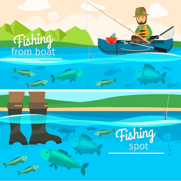 Pêcheur de vecteur attraper des poissons au lac Vecteur Premium
