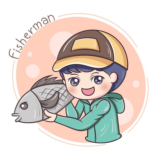 Pêcheur Vecteur Premium
