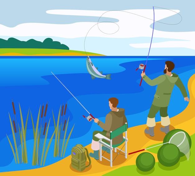 Pêcheurs Aux Prises Lors De La Capture De Poisson Sur La Composition Isométrique De La Rivière Bank Vecteur gratuit