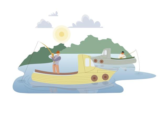 Pêcheurs en illustration vectorielle plane de bateaux à moteur Vecteur Premium