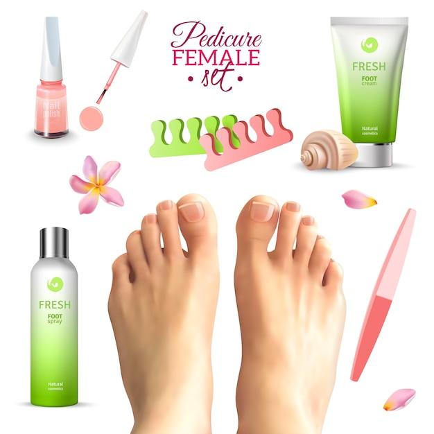Pédicure pieds féminins Vecteur gratuit