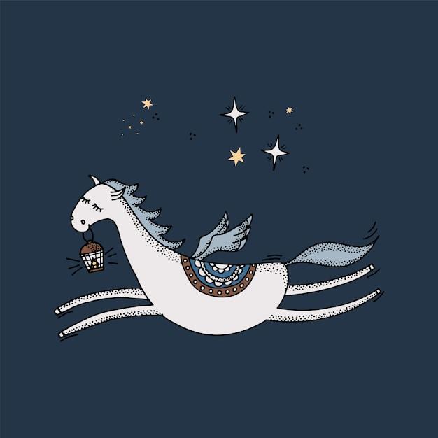 Pegasus dessiné à la main vole dans le ciel bleu avec des étoiles. Vecteur Premium