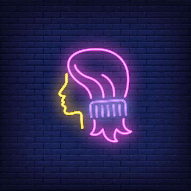 Peigne peigne femme cheveux enseigne au néon Vecteur gratuit